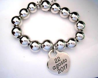 10 mm Heart Bead Bracelet Silver