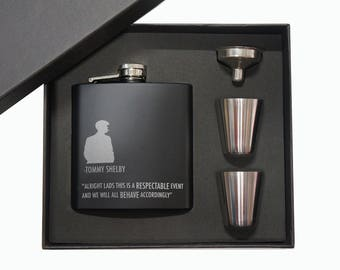 Gift for Him, Tommy Shelby,Peaky Blinders style Matt Black Hip Flask 5oz 2 Cups + Funnel. With Black Gift Box