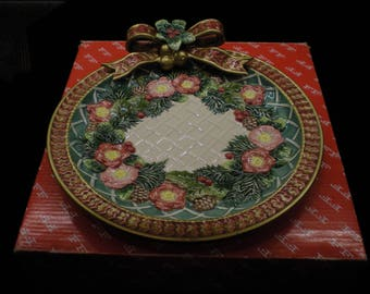 Vintage Fitz and Floyd 1996 Christmas Wreath small cracker/pastry Canape Plate 19/335