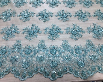 lace fabric couture wedding dress or evening beaded embroidered Mint green color