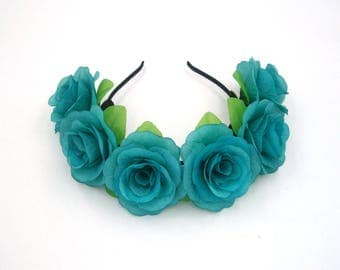Turquoise Aqua Blue Flower Crown,Blue Rose Headband,Blue Flower Headband,Blue Rose Crown,Women,Girls,Teen,Adult,Festival,Wedding Headpiece