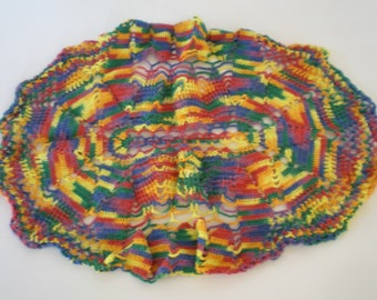 Bright Multi-Color Doily  Table Scarf Dresser Scarf Hand Crocheted Retro