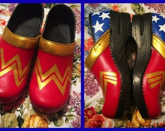 Custom painted Nursing/RN/Wonder Woman Sanita Clogs. Designed and personalized just for you!
