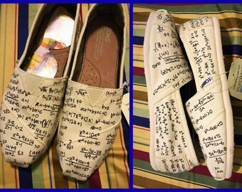 WOMENS Custom painted Math/Algebra/Calculus Toms. Designed and personalized just for you!