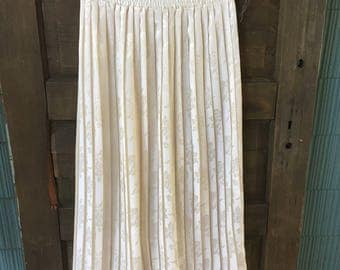 Vintage 80's Off White Satin Filigree Floral Accordion Pleated Maxi Skirt by Forenza