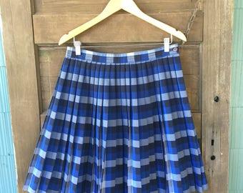 Vintage 80's Blue Plaid Accordion Pleated Longer Fit Genuine Schoolgirl Mini Skirt size large