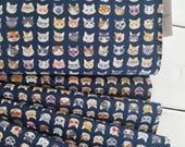 Animal World - Cats (Navy Background) - Kokka - Cotton/Linen Canvas
