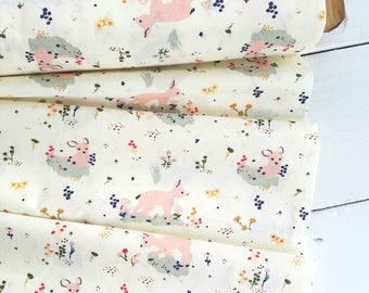 Little - Little Deer(Creamy white background) - Jenny Lumelsky - Birch Organic Fabrics