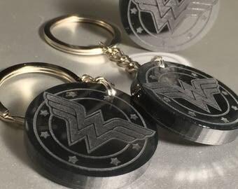 Wonder Woman Logo Emblem Keychain Etched Acrylic