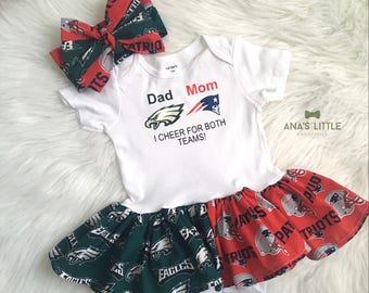 Custom House Divided Bodysuit Dress ( Eagles - Patriots) I Cheer For Both Teams and Headwrap 2pc set