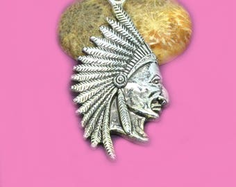 big Chief pendant Indian 54x29mm nickle free