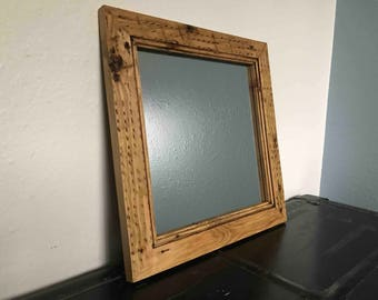 reclaimed wood mirror frame handcrafted out of reclaimed pine - Mirror Frame