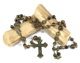 Tiger's Eye Rosary; Brown Gemstone Rosary; Brown Rosary