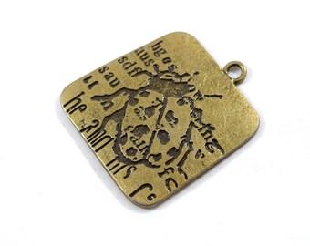 1 Large Ladybug Pendant, Square Pendant, Antique Brass Tone Pendant, Brass Pendant, Bohemian Pendant, Boho Pendant