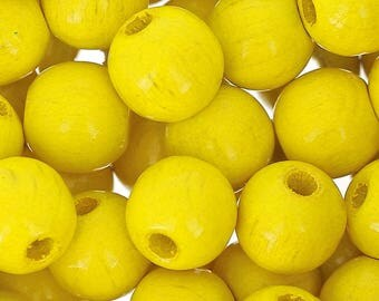 4mm/6mm/8mm/10mm/12mm/15mm Wooden round beads - YELLOW, Natural beads, Colored wooden beads, Beech wood