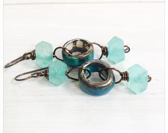 Aqua ceramic hoop earrings -recycled glass earrings - Scorched Earth earrings