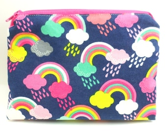 "Double Mini Wet Bag 6"" x 4.5"" approx. Rainbow print."