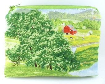 Double Mini Wet Bag 6 x 4.5 inch approx. Summerwind Farm print.