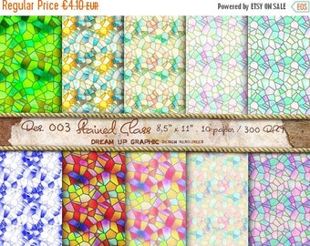 "GREAT SALE Glass Digital Paper ""Old Stained Glass"", Stained Textured Digital Scrapbook Paper Pack (8.5x11""-300 dpi), scrapbook Digital paper"