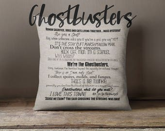Ghostbusters movie quote pillow cover - 18x18inch pillow cover - eco inks - father's day - under 50 - movie quotes - fiber arts
