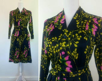 Vintage 70s Floral Dress Tea Dress Secretary Party Shirt Dress peplum skirt size S