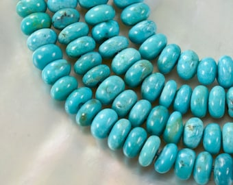 "16.33"" TURQUOISE Strand 4 mm Rondelle Natural Gemstone Beads Hubei China 47 ct"