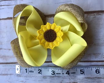 Sunflower Burlap hair bow