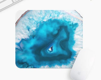 Marble Stone Mouse Pad, Blue Stone Mousepad, Rectangle or Round Circular, Gift mp0016