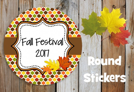 Fall Stickers - Fall Leaves Stickers - Set of 12 Round Labels - Personalized Labels - Orange, Brown, Tags, Stickers, Leaves