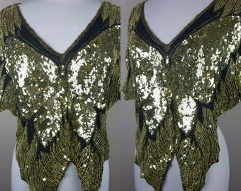 Vintage 1980s butterfly gold sequined top | black | sequins shirt, blouse tunic disco