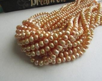 Potato Peach Pearl,AA Pearl,Strand of Pearl,Freshwater Pearl,Peach Pearl,Potato Pearl