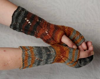 Striped warm winter gloves, funny gift, Long Knit Fingerless Gloves Mittens brown blue multicolored