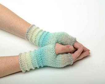 ladies gloves, gift for her, knit arm warmers, Fingerless Gloves arm mittens