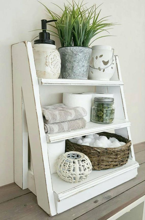 Small Bathroom Ladder Shelf: Tiered Ladder Shelf Small Tiered Shelf Bathroom Shelf
