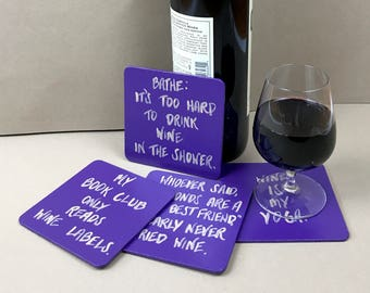 Wine Coasters, Wine Gift, Wine Drinker Coasters, Wine Lover Gift, Coasters, Wine Drinker Gift, Wine Gifts, Alcohol Gifts, Gift for Her