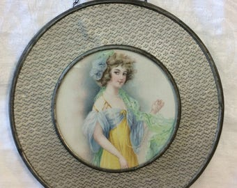 C. 1920's Round Lady's Portrait in Glass and Metal Flue Cover/Frame