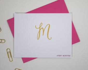 Personalized Stationery Set, Personalized Stationary, Monogram Stationary, Custom Stationary Set, Paperienco, Custom Note Cards Set of 12