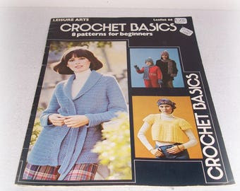 Crochet For Beginners Leaflet 66 Leisure Arts 8 Patterns For Beginners Crochet Basics Stitches How To Read Patterns ICreateAndCollect