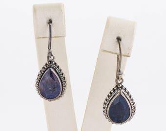 Vintage Earrings - Vintage Sterling Silver Sapphire Dangle Earrings
