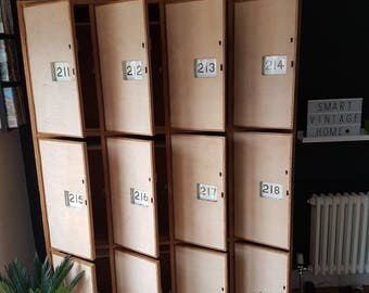 Magnificent Stunning Rare ORIGINAL Mid Century Industrial 1950s Retro Vintage Wooden School Lockers with Numbered Doors