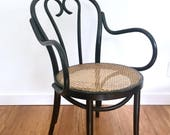 Black Cane Bentwood Thonet Style Armchairs, 2 Available, ZGM Radomsko Chairs, Made in Poland, Cafe Desk Chairs, 2 Available, Mid Century