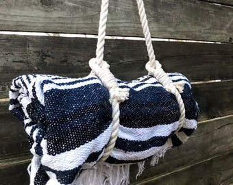 Falsa blanket with strap carrier.  Mexican blanket.  Yoga blanket with rope yoga mat strap.  READY TO SHIP!