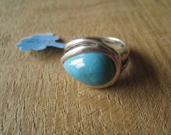 Sterling Silver Blue Turquoise Teardrop Ring 6.25 (1203)