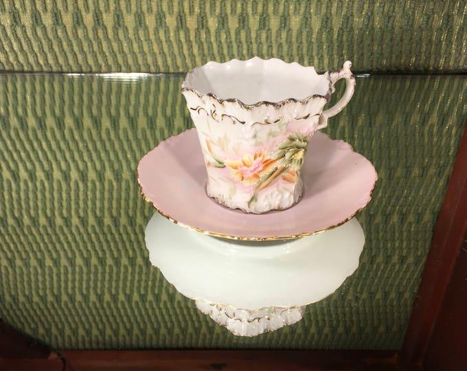 Floral China Tea Cup and Saucer Mix-N-Match Set, Versallies saucer with Pink Scalloped edge Tea Cup, Mismatched