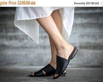 SALE New! Strappy Sandals, Leather Sandals, Black Sandals, Handmade Sandals, Black Summer Flats, Summer Shoes, Slide Sandals, Ollivia