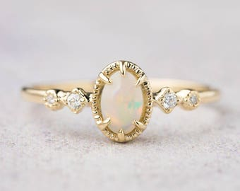 14k gold genuine Australian Opal ring, Opal engagement ring, white gold, rose gold, unique, alternative engagement ring, ado-r108-6mm-opa
