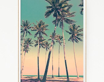 Printable Palm Trees Sky Wall Decor Print Poster Tropical Beach Marine Art Landscape Colour Beach Nature Sea Minimalist Banana Leaf Sky 1060