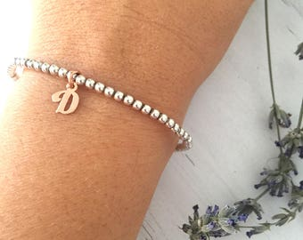 925 silver bracelet with pink gold initial
