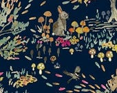 Enchanted Forest by Betsy Olmsted for Windham Fabrics- Shady Meadow Toile in Navy- woodland animal fabric