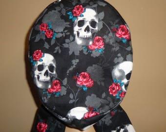 Hair wrap , Scrub Cap , Women's  , flower , skull , Skeleton , bone